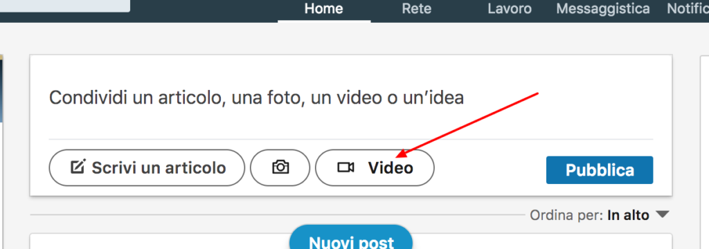 pubblicare video su LinkedIn